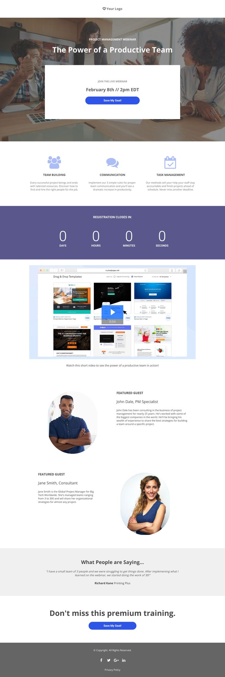 Management Webinar Landing page, Page template, Templates
