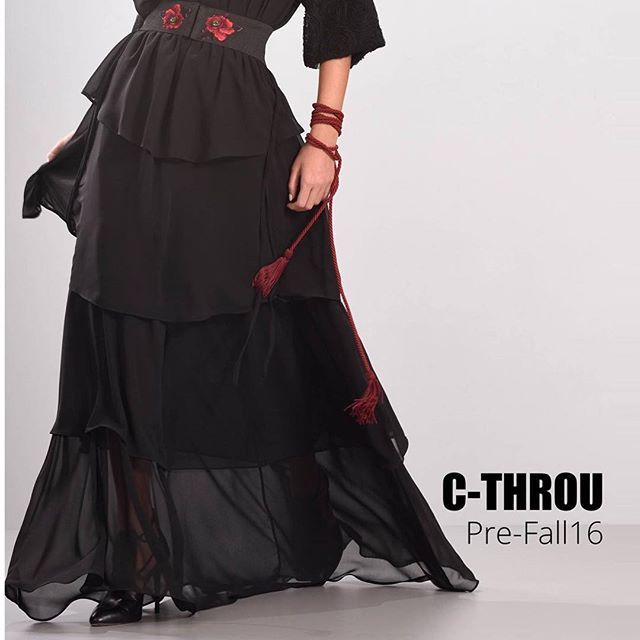 Ruffled Mousseline Maxi Skirt #Skirt With Crystal Embellished Belt from #CTHROUpreFall16 + #eveningdress  #CTHROU #MadeInGreece