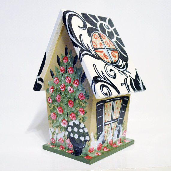 Elegante damast decoratieve handgeschilderde Birdhouse