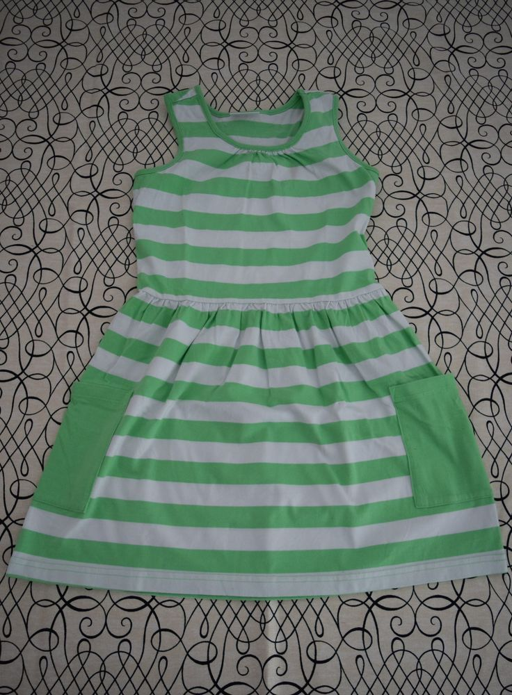 6939cf1d9951 Hanna Andersson Green Striped Tank Dress with pockets. Size 130 US 7 8 9 #