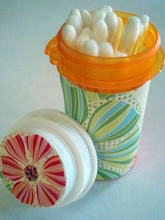 Upcycled Medicine Bottles - not just great for Q-tips but also bobby pins or all that other stuff that ends up at the bottom of our purses! Great idea!