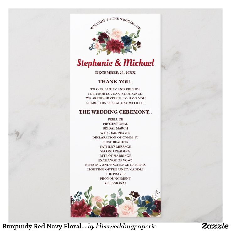 Burgundy Red Navy Floral Rustic Boho Program card   Zazzle.com