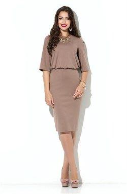 Элегантное кофейное платье с объемным верхом и юбкой-карандаш из плотного…