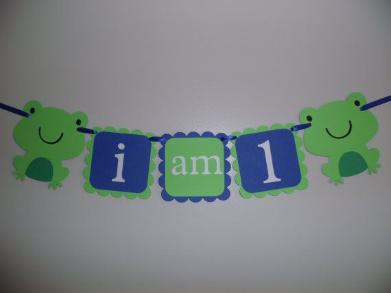 I am 1 Happy Birthday Banner FROGS First by CreativePartyBanners, $14.00