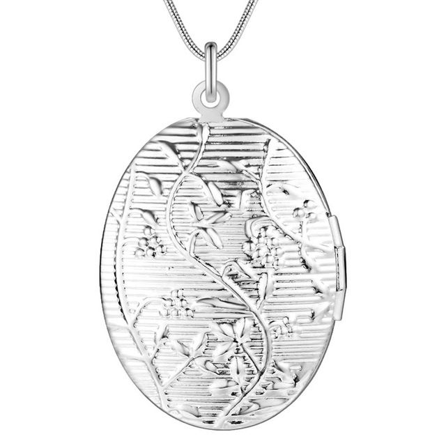 Оптовая посеребренные шарм jewelrys Ожерелье, бесплатная доставка 925 штампованные ювелирные изделия овальный кулон \ эллипс AN742