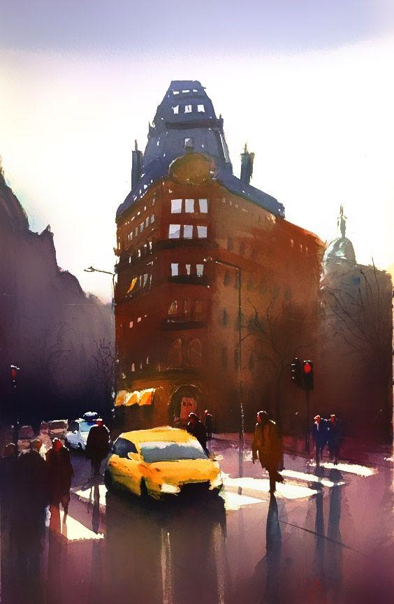Stefan Gadnell, watercolor, Stockholm, SOLD