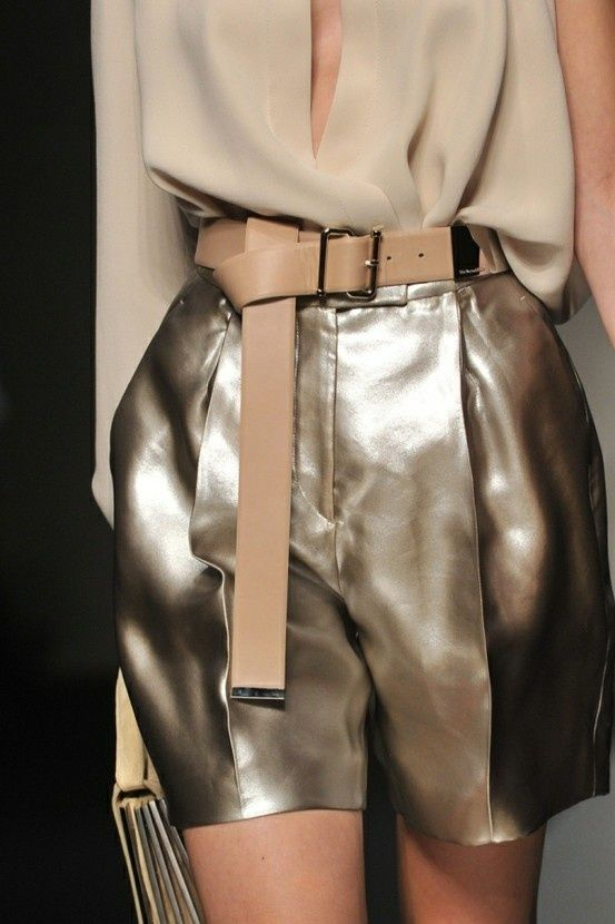 Love the juxtaposition of the metallic shorts and camel coloured blouse. It makes metallics more wearable #SHEIKEautumn