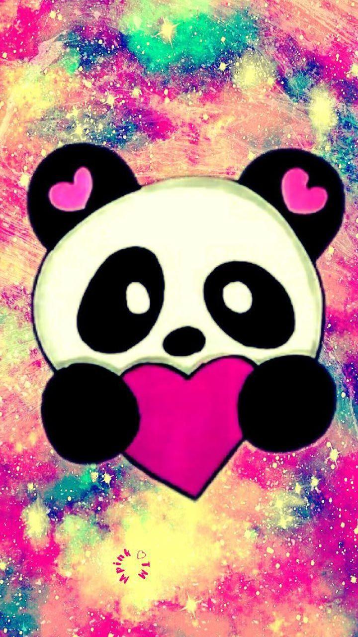 Cute Panda love. Galaxy panda wallpaper. heart love
