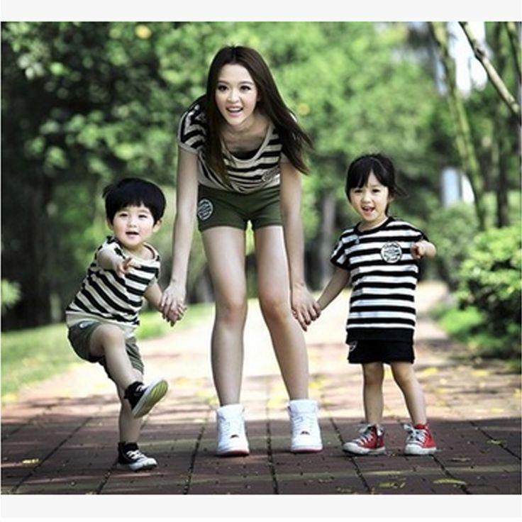 Family look Fashion summer  set 2017 summer clothes for mother and daughter stripe set parent-child set summer sports short set