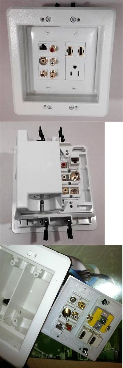 Video Cables and Interconnects: 110V Ac Power Outlet And 2 Hdmi 3 Rca Coax Tv Mini Audio Cat5e Recessed Wall Plate -> BUY IT NOW ONLY: $89.82 on eBay!