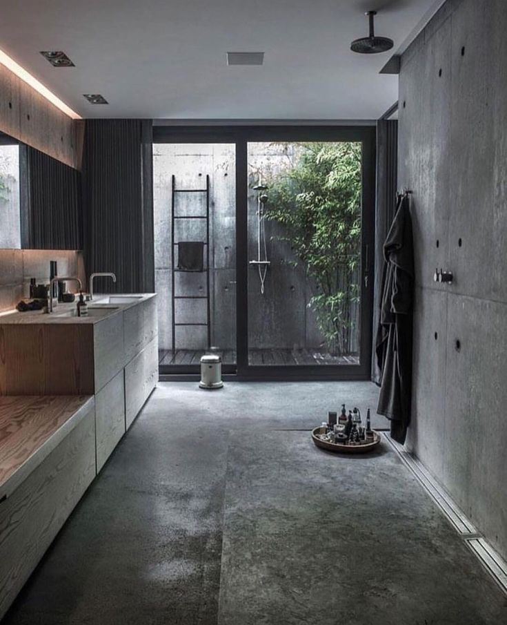 "7,447 Likes, 51 Comments - Design Interiors Architecture (@thelocalproject) on Instagram: ""Concrete & timber-filled modern industrial bathroom 