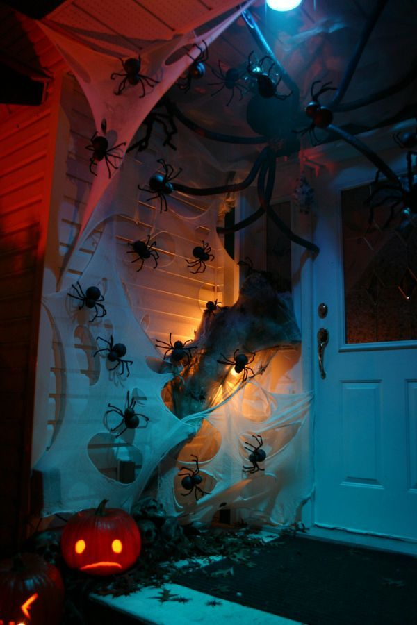 Set up a spider attack on your front door. Use lace for spider web and plastic spiders of different sizes. You can even get a giant one and ...