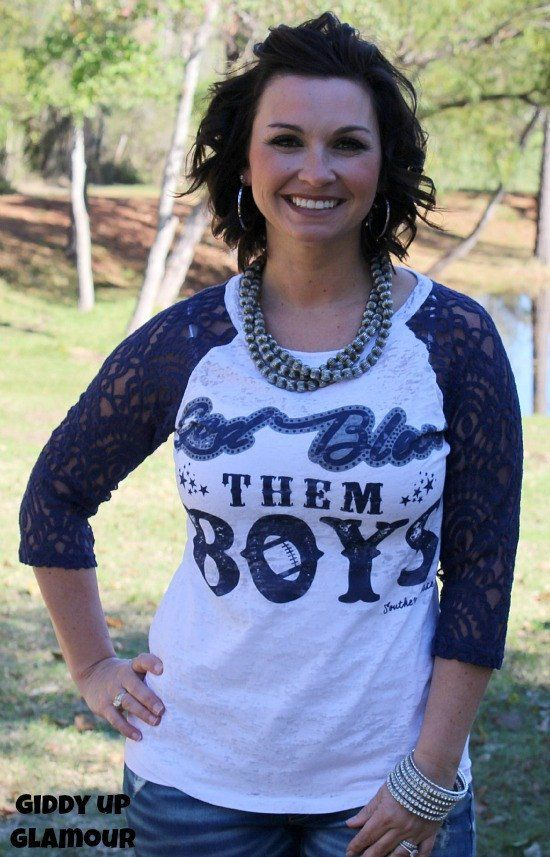 God Bless Them Boys Baseball Burnout Tee with Navy Sleeves