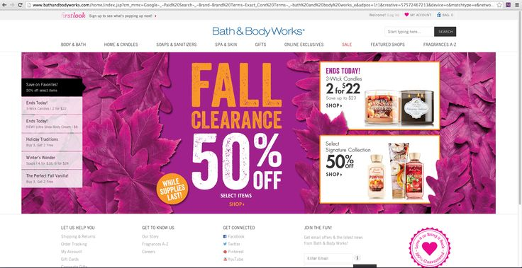 For the Bath&Body Works home page I love the set up. I like the use of a small side bar with global navigation, an image as the main content area with the main important text in the center. For my webpage I was inspired to have my main content area be a large image, with a smaller picture of myself with my name in the center (where the FALL CLEARANCE is seen) and have my sidebar be have the global navigation.