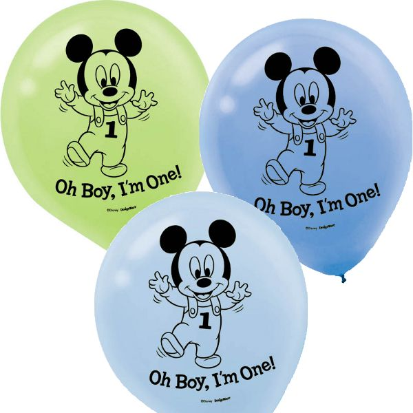 "There's a party at the House of Mouse! These white printed blue, baby blue, and green latex balloons star a happy baby Mickey Mouse ready to celebrate his first birthday! A ""Oh Boy, I'm One!"" headline"