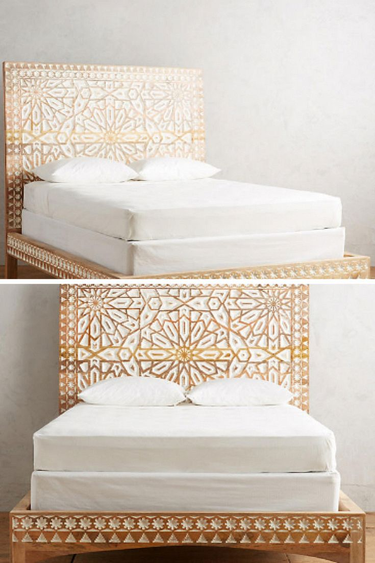This hand carved bedroom centerpiece features a two-toned motif – inspired by a dramatic Moroccan entryway. (Sponsored) || Bedroom ideas, Bedroom idea…