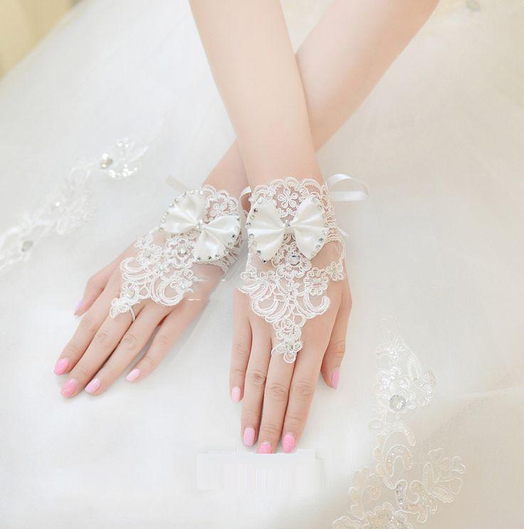 Бесплатная доставка Невеста короткий параграф корейский шнурок свадебные перчатки без пальцев перчатки замужним Свадебные аксессуары Свадебные перчатки 12 Taobao
