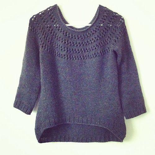 eyelet yolk sweater FREE pattern: Go to http://pinterest.com/DUTCHYLADY/share-the-best-free-patterns-to-knit/ for more than 1500 FREE patterns to KNIT