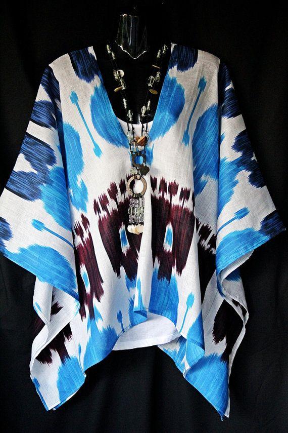 Linen silk Ikat Kaftan Top by MollyKaftans on Etsy, $139.00
