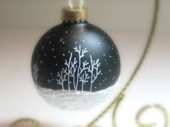 Our Most Popular Hand Painted Christmas Ornament,  Aspen Snow Scene with Snow falling and Glitter, Glass Christmas Ornament, Midnight Black