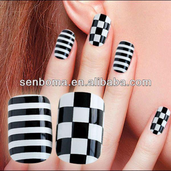 blanco y negro de banda de la red de uñas postizas diseños-Uñas ...