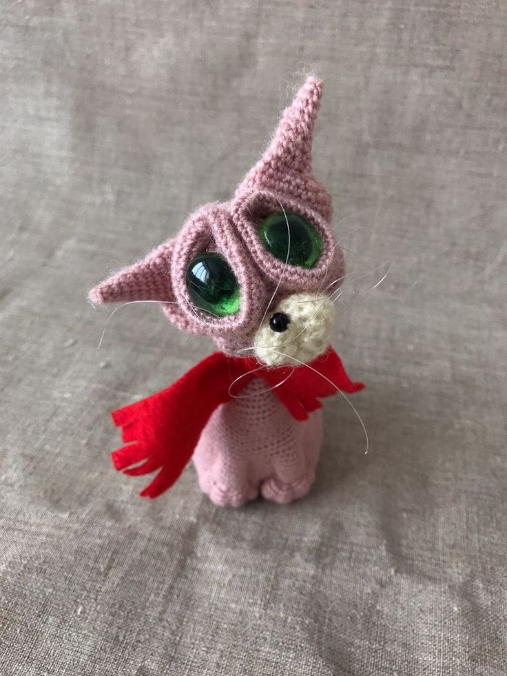 Crochet amigurumi pink cat toy, Stuffed animal cat doll, Plushie funny kitty toy #Handmade