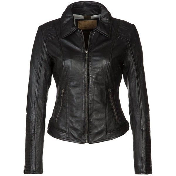 Oakwood Leather jacket ($130) ❤ liked on Polyvore featuring outerwear, jackets, black, leather zip jacket, print jacket, collared leather jacket, zip pocket jacket and pocket jacket