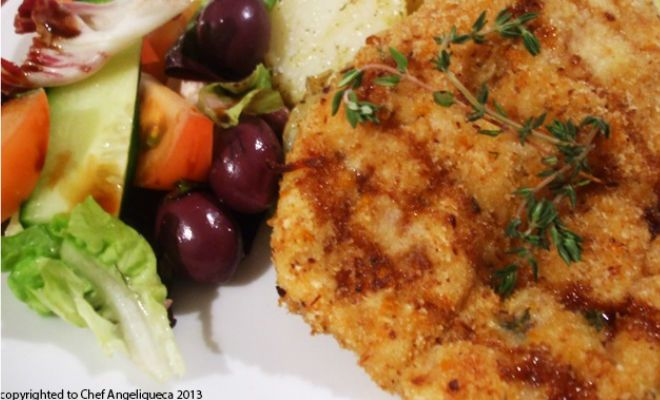 For those who love schnitzel, this is an easy, tasty and quick dinner, with a South African twist in the biltong. Scrumptious and delicious!