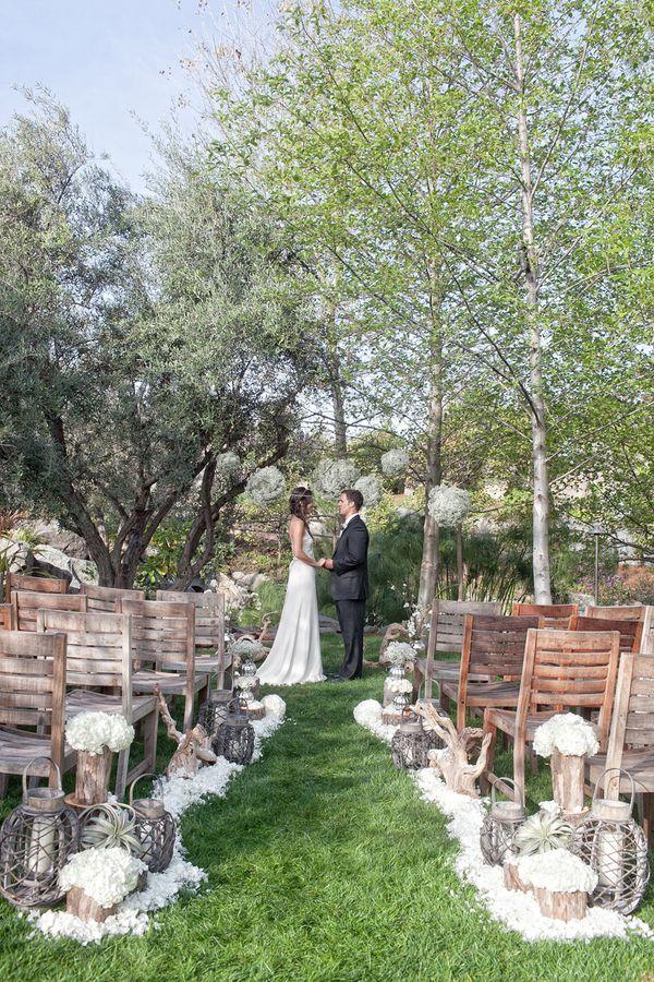 Beautiful Boho Meets Rustic Outdoor Winter Wedding Ceremony