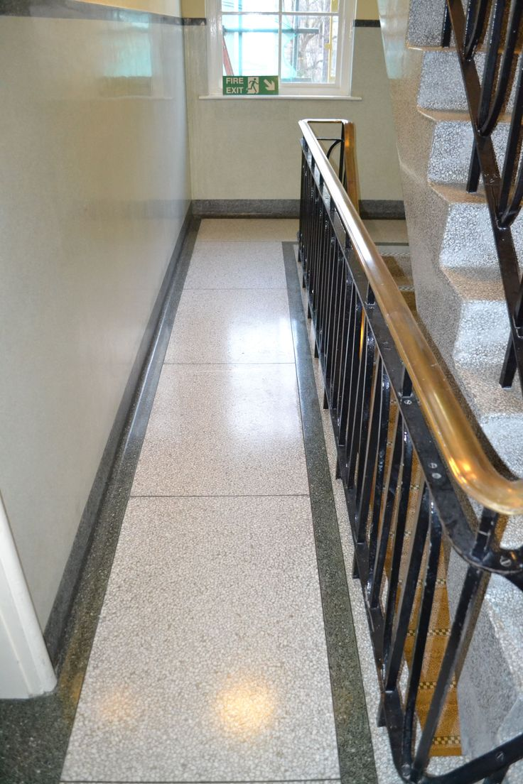 Terrazzo stair landing after restoration cleaning polishing and sealing East Sussex.