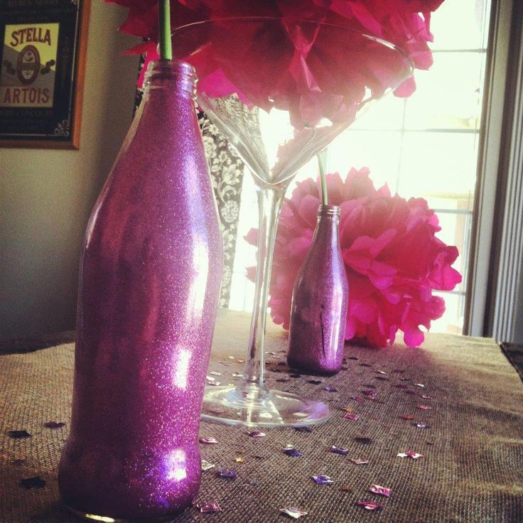 21st Birthday Table Arrangements: 21st Birthday Decor Tissue Paper Pom Poms & Glitter Vases
