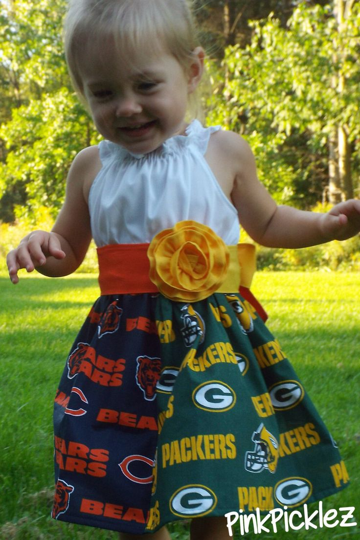 House divided Packers vs Bears  rivalry flutter sleeve peasant dress with a yellow/orange sash & rosette clip or teams of choice by PinkPicklez on Etsy https://www.etsy.com/listing/204263194/house-divided-packers-vs-bears-rivalry