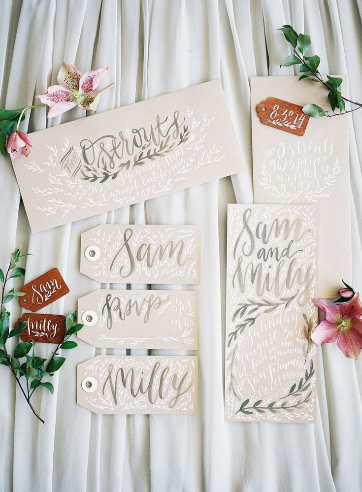 silver calligraphy gift tags