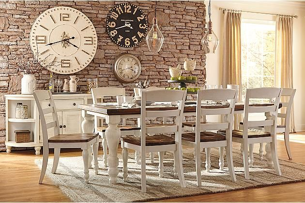 Two tone marsilona dining room table view 5 new home for 2 tone dining room tables
