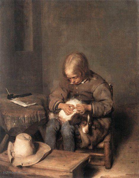 """Painting """"Boy Ridding zijn hond van vlooien"""" by Gerard Terborch - www.schilderijen.nu"""