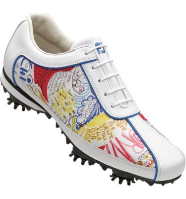 Footjoy Womens Lopro Golf Shoes  White Graffiti