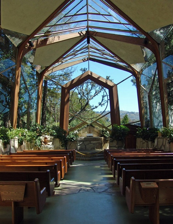 Wayfarers' Chapel in Palos Verdes, California. Designed by Lloyd Wright (son of Frank Lloyd Wright). Architecture. Info: http://www.wayfarerschapel.org/