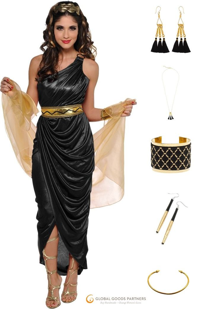 Egyptian Queen Costume in gold and black. | Channel Cleopatra herself with these lovely fair trade jewelry options!