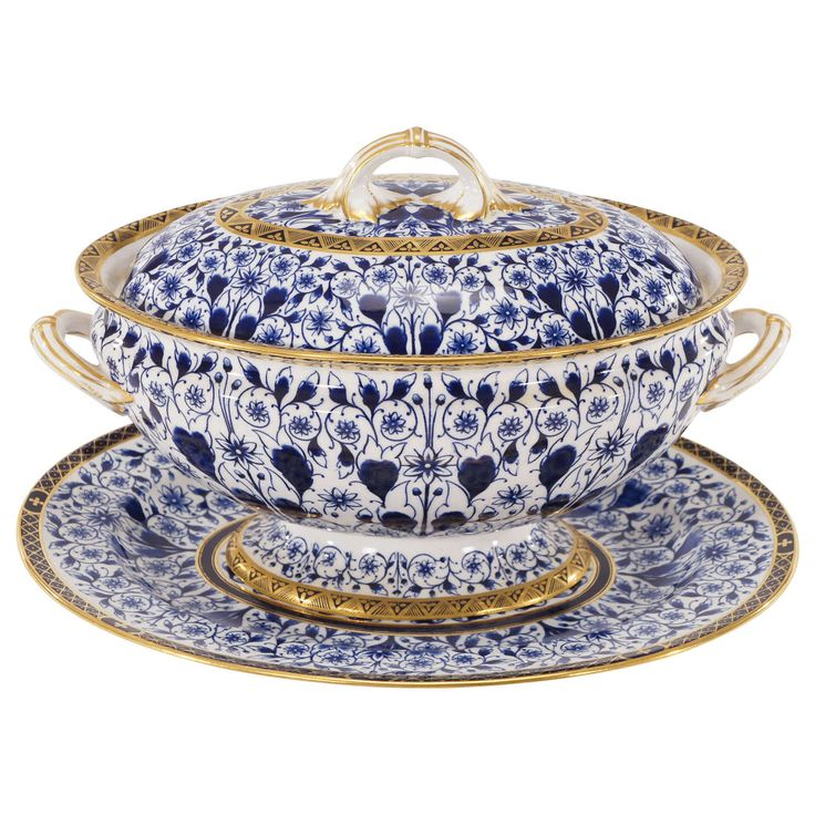 """Derby, Cobalt Blue """"Derby Lily"""" Soup Tureen with Matching under Plate or Stand c.1890s"""