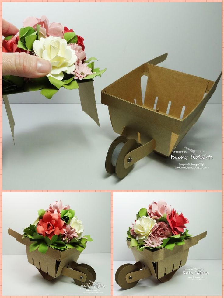 Berry Basket Bigz wheelbarrow filled with flowers | The wheelbarrow is made starting with the Berry Basket die. The flowers are made from assorted Stampin' Up! punches and dies. The are glued to half of a Styrofoam ball and covered with leaves underneath so it does not show. The flowers are on a 'platform' so They can be changed out with the seasons or occasions.