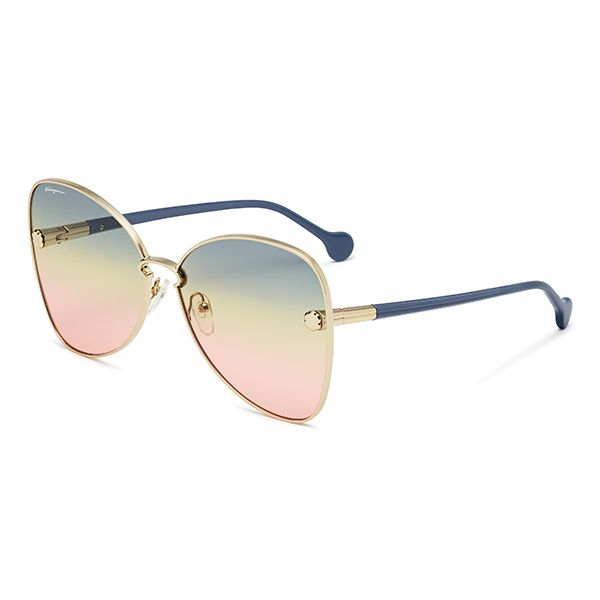 Ferragamo S New Fiore Sunglasses Are Characterized By A Gold Frame Front With Triple Gradient Lenses Sunglasses Women Designer Sunglasses Designer Sunglasses