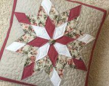 Cuscino trapuntato throw pillow - cuscino decorativo con cuscino floreale star - rosa - trapuntato cuscino copertina - cassa del cuscino trapuntato - patchwork