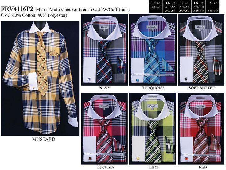 Men's Multi Colored Plaid Dress Shirts with Tie, Hanky, Cufflinks