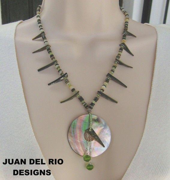925 STATEMENT ketting oester parelmoer peridoot van Juan.del.Rio.Designs op DaWanda.com