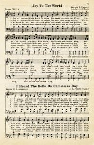 Here is a vintage sheet music graphic that includes two Christmas hymns: Joy To The World and I Heard The Bells On Christmas Day. The page is from the vintage songbook The Golden Book of Favorite Songs, 1915.