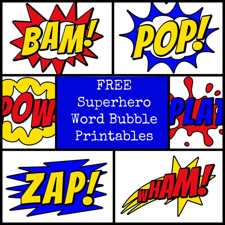 superhero snacks | Superhero Word Bubbles
