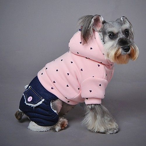 Dog Hoodie Jumpsuit Dog Clothes Casual/Daily Fashion Polka Dots Purple Green Pink Costume For Pets 2018 - $14.99