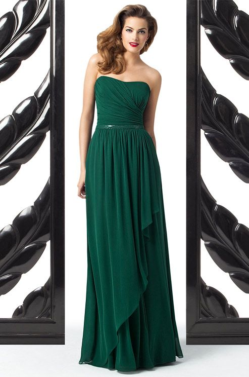 Emerald bridesmaids' dress from Dessy, Fall 2012