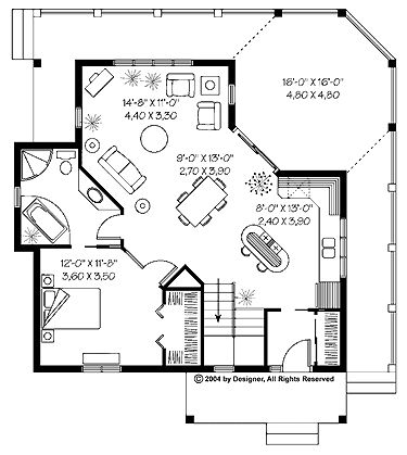 Vacation friendly cottage house plan 840 sq ft 1 bed for 840 square feet