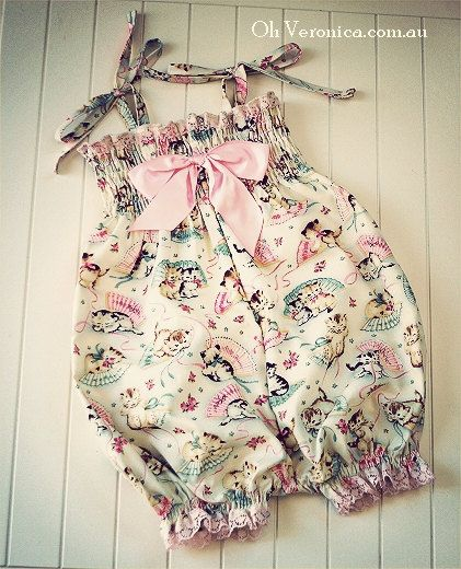 Vintage Baby Kitten Playsuit Romper Girls by OhVeronicaGirl